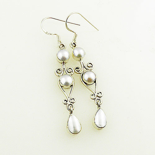 Pearl Sterling Silver Dangling Earrings - Keja Designs Jewelry