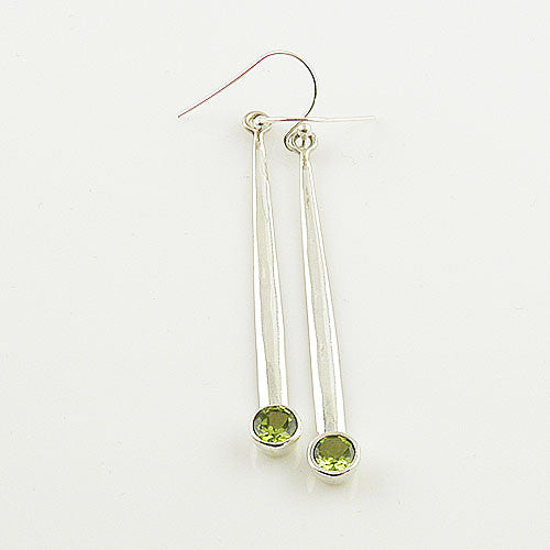 Peridot Sterling Silver Bar Earrings - Keja Designs Jewelry