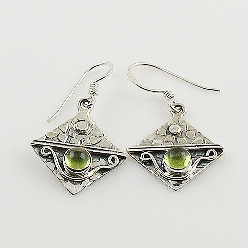 Peridot Cabochon Sterling Silver Earrings - Keja Designs Jewelry