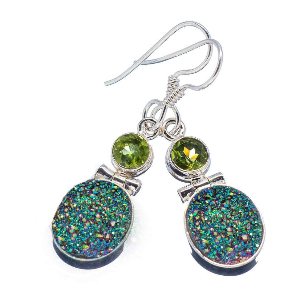 Titanium Drusy & Peridot Sterling Silver Earrings - Keja Designs Jewelry