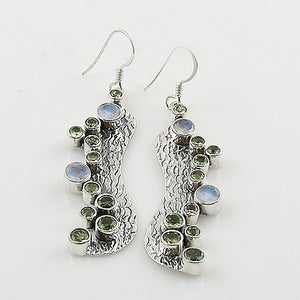 Peridot & Moonstone Sterling Silver Bubble Earrings - Keja Designs Jewelry