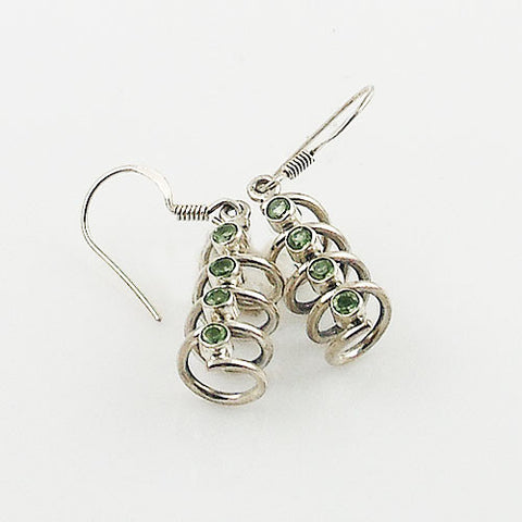 Peridot Sterling Silver Spiral Earrings