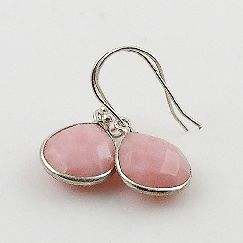 Pink Opal Faceted Pear Sterling Silver Earrings - Keja Designs Jewelry