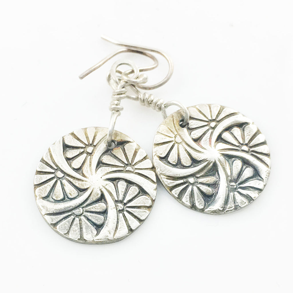 Pinwheel Silver Earrings