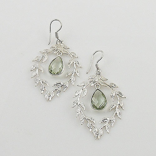 Praisiolite Vine Sterling Silver Earrings - Keja Designs Jewelry