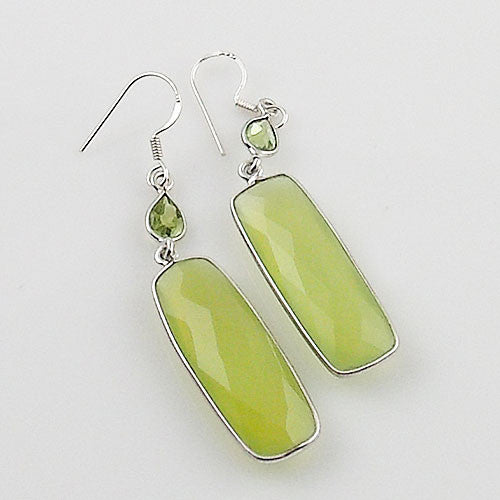 Peridot & Prehnite Sterling Silver Oblong Earrings - Keja Designs Jewelry