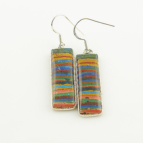 Rainbow Calsilica - Sterling Silver Earrings - keja Jewelry - Keja Designs Jewelry
