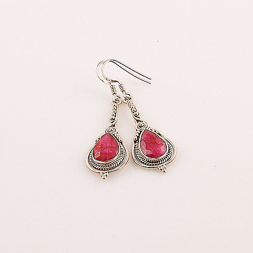 Ruby Drop Sterling Silver Earrings - Keja Designs Jewelry