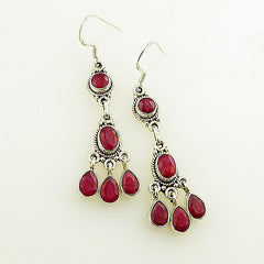 Ruby Sterling Silver Dangle Earrings - Keja Designs Jewelry