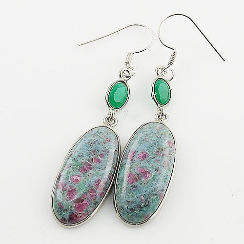 Ruby In Fuschite & Emerald Sterling Silver Earrings - Keja Designs Jewelry
