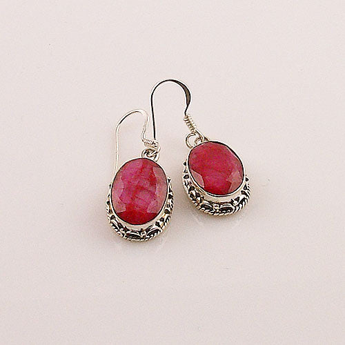 Ruby Sterling Silver Oval Earrings - keja jewelry - Keja Designs Jewelry