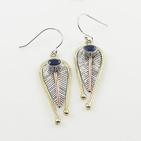 Sapphire Sterling Silver Three Tone Leaf Earrings