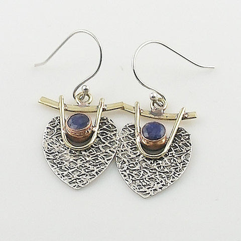 Sapphire Sterling Silver Three Tone Earrings