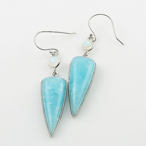 Smithsonite & Moonstone Sterling Silver Earrings - Keja Designs Jewelry