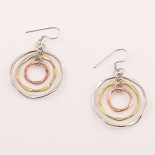 Three Tone Sterling Silver Hoop Earrings - Keja Designs Jewelry