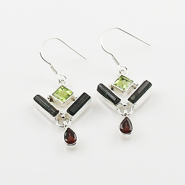 Green Tourmaline, Garnet & Peridot Sterling Silver Earrings - Keja Designs Jewelry