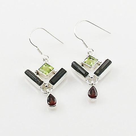 Green Tourmaline, Garnet & Peridot Sterling Silver Earrings
