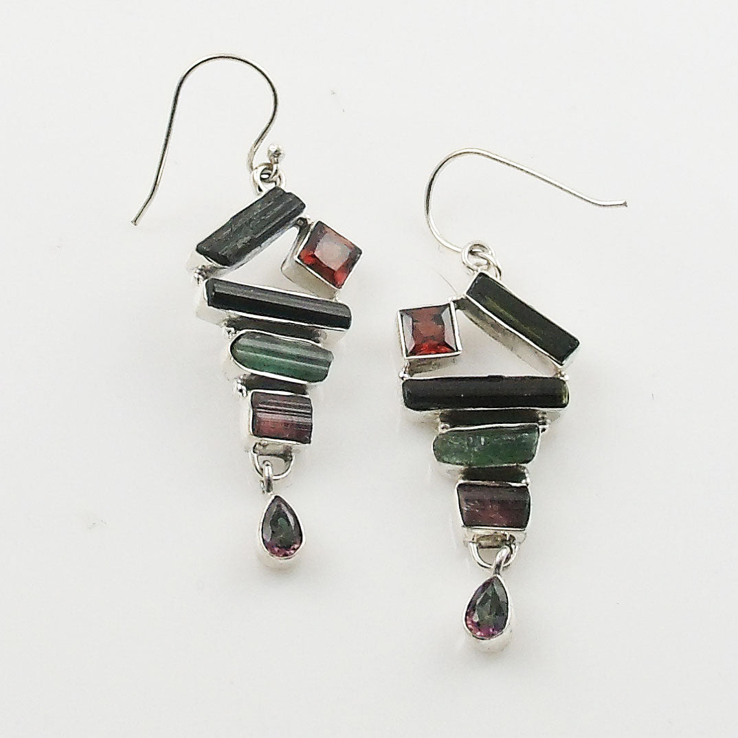 Green & Pink Tourmaline, Garnet & Mystic Topaz Sterling Silver Earrings - Keja Designs Jewelry