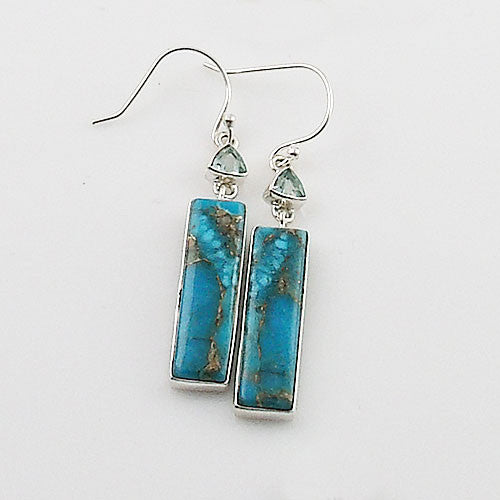 Blue Topaz & Turquoise Sterling Silver Oblong Earrings - Keja Designs Jewelry