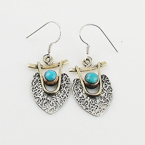Blue Turquoise Sterling Silver Two Tone Earrings - Keja Designs Jewelry