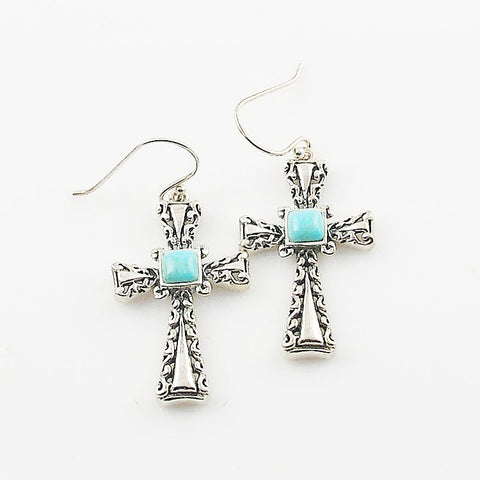 Turquoise Sterling Silver Cross Earrings - Keja Designs Jewelry