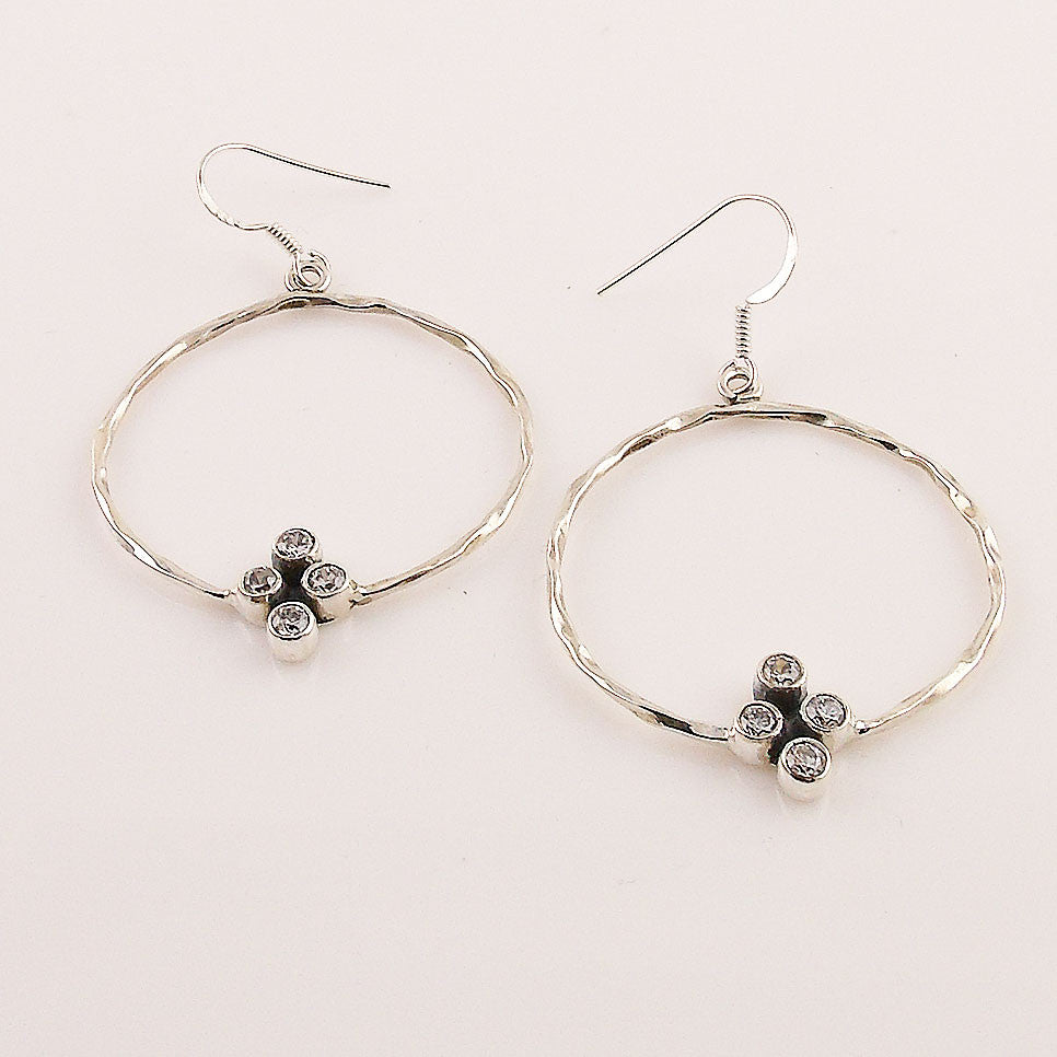 White Topaz Sterling Silver Hoop Earrings - Keja Designs Jewelry