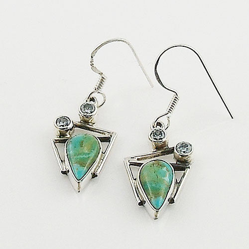 Turquoise & Blue Topaz Sterling Silver Earrings - Keja Designs Jewelry