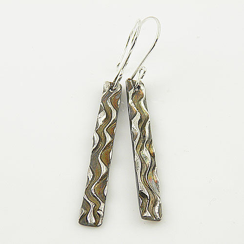 Zebra Stripes - Long Pure Fine Silver Earrings - keja jewelry