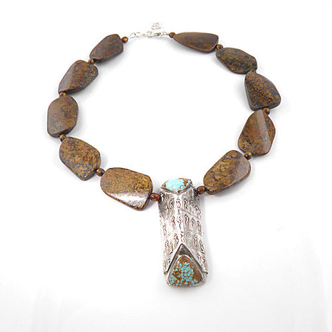 Turquoise & Bronzite Egyptian Harvest Celebration Pure Silver Necklace