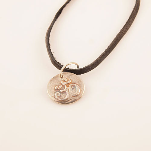 Flat Om Pendant on Leather Cord - Keja Designs Jewelry