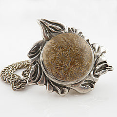 Fossilized Coral Pure Silver Pendant - Keja Designs Jewelry