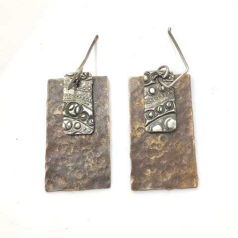 Two Tone Geometric Pure Fine Silver Earrings