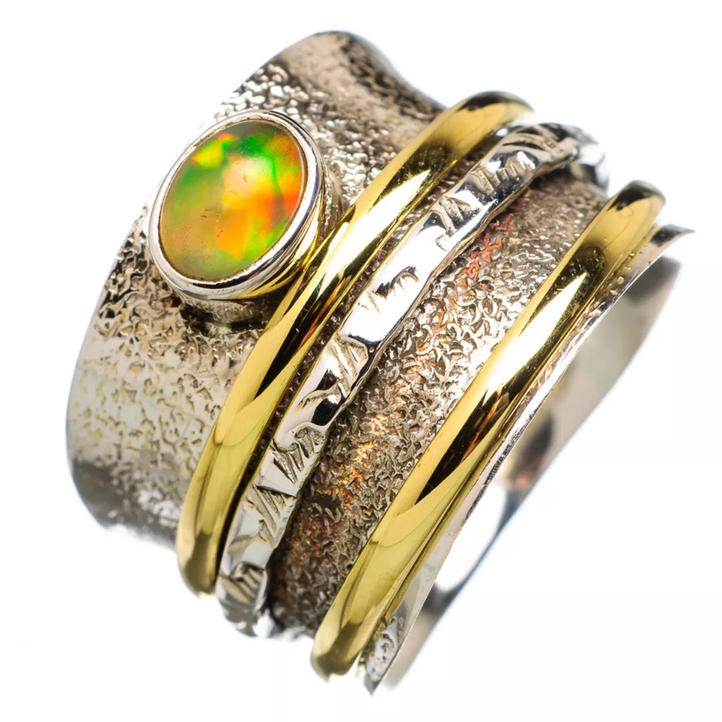 Spinner Ring Two Tone Ethiopian Opal Oval - Keja Designs Jewelry