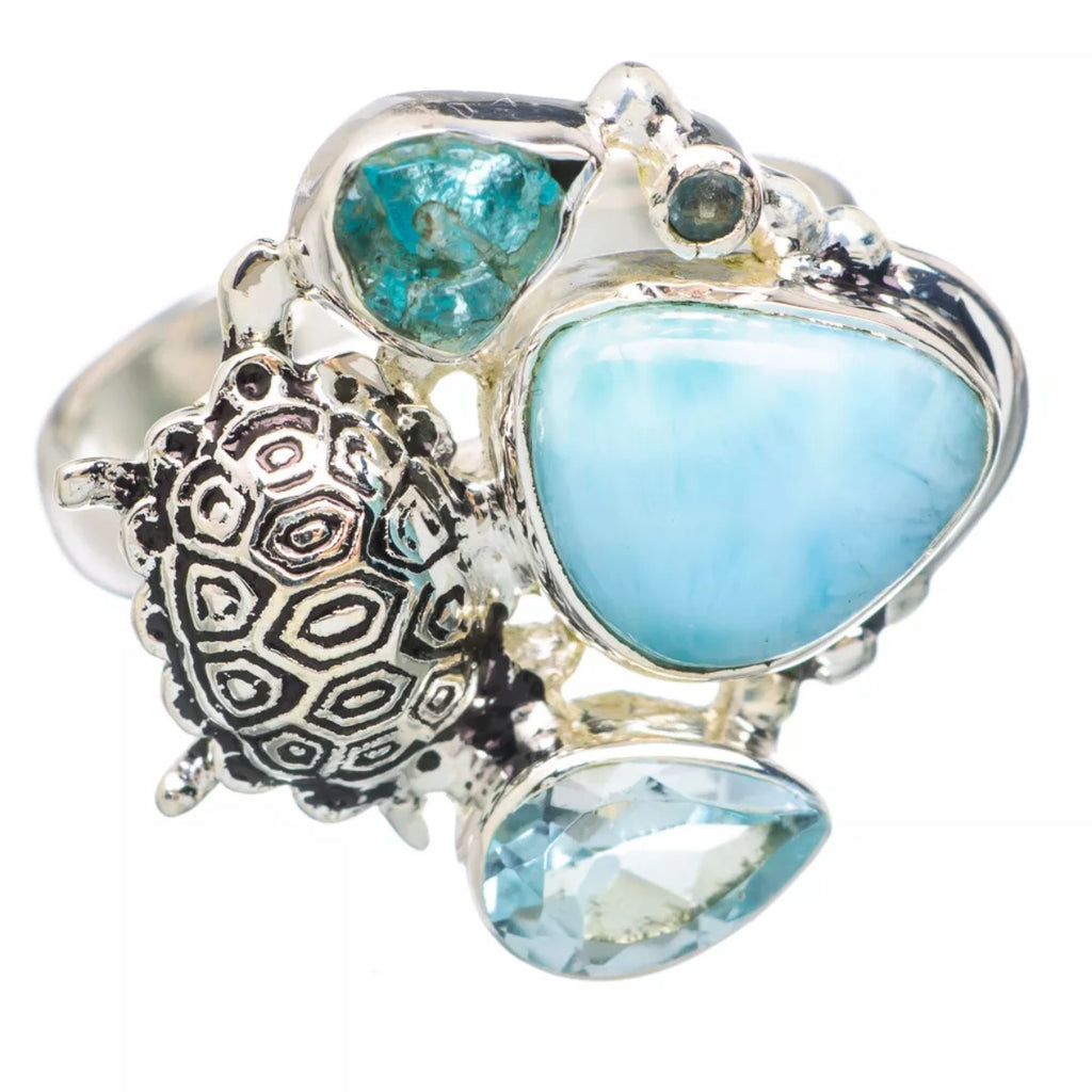 Larimar, Blue Topaz & Appetite Rough Turtle Sterling Silver Ring - Keja Designs Jewelry