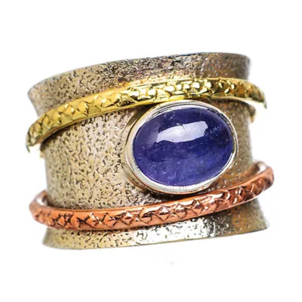 Spinner Ring Three Tone Oval Tanzanite - Keja Designs Jewelry