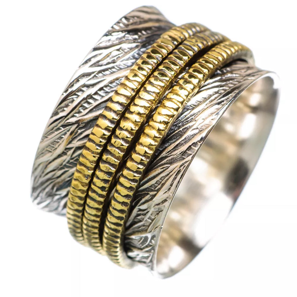 Meditation Ring Textured Two Tone Three Spinner Ring - Keja Designs Jewelry