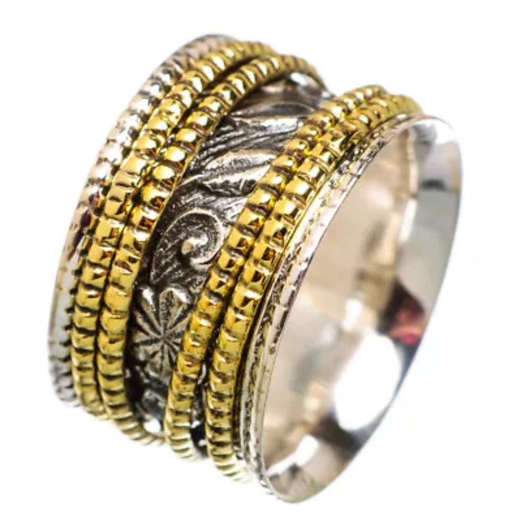 Meditation Ring Leaf Patterned Two Tone Four Spinner Ring - Keja Designs Jewelry