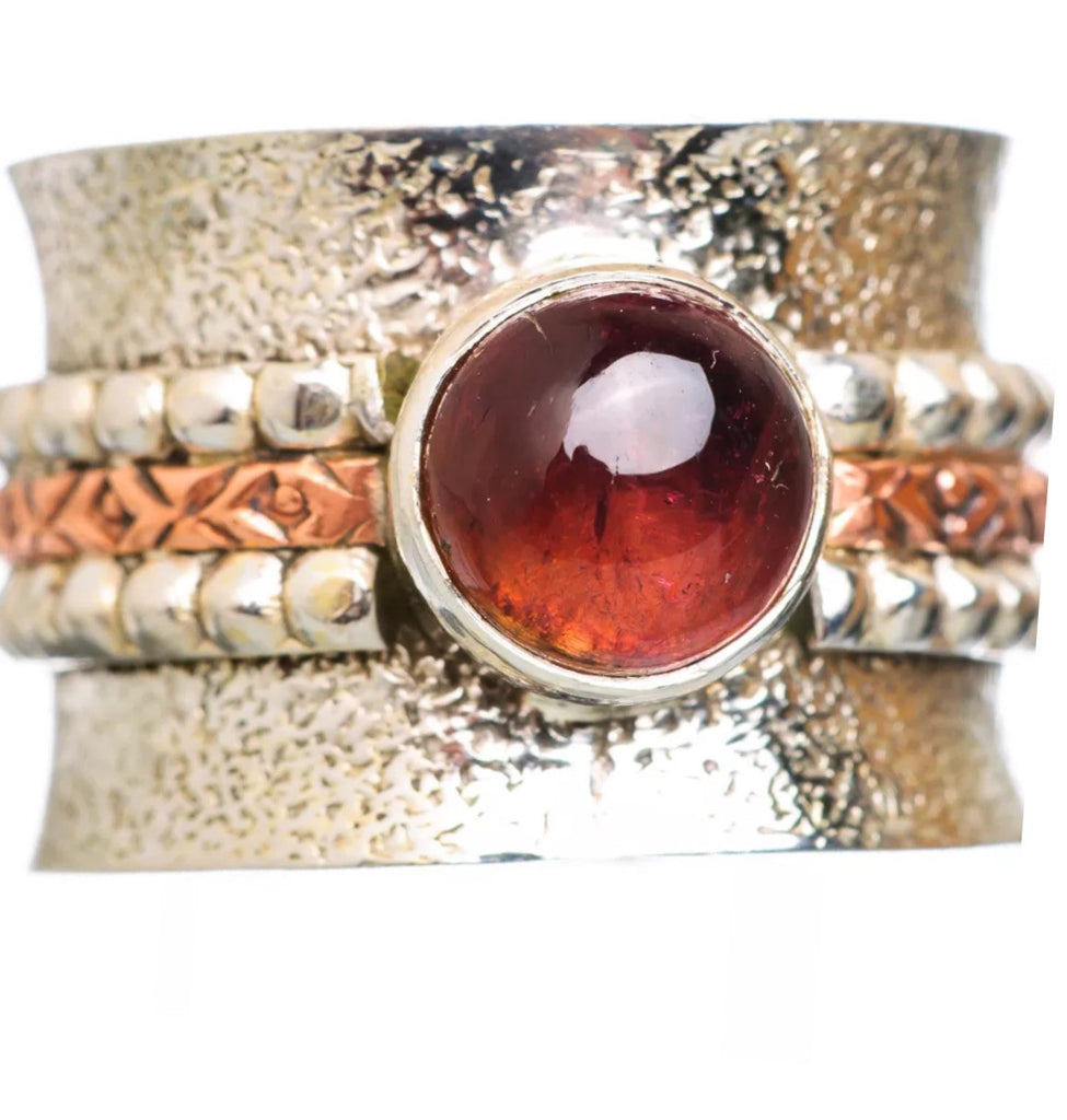 Garnet Three Tone Round Sterling Silver Ring - Keja Designs Jewelry