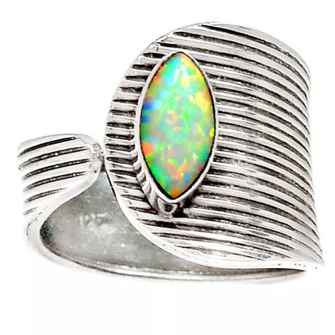 Fire Opal Sterling Silver Adjustable Modern Ring