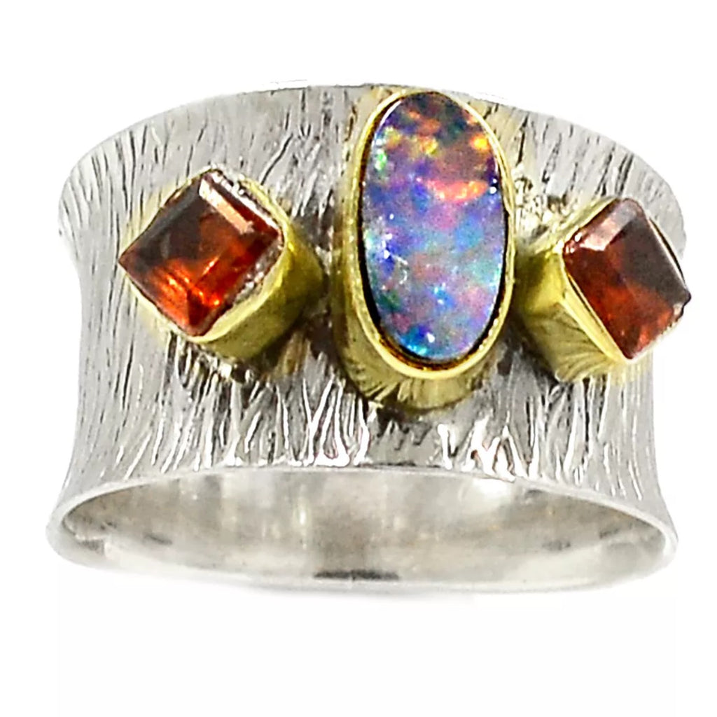 Australian Fire Opal & Garnet Sterling Silver Two Tone Band Ring - Keja Designs Jewelry