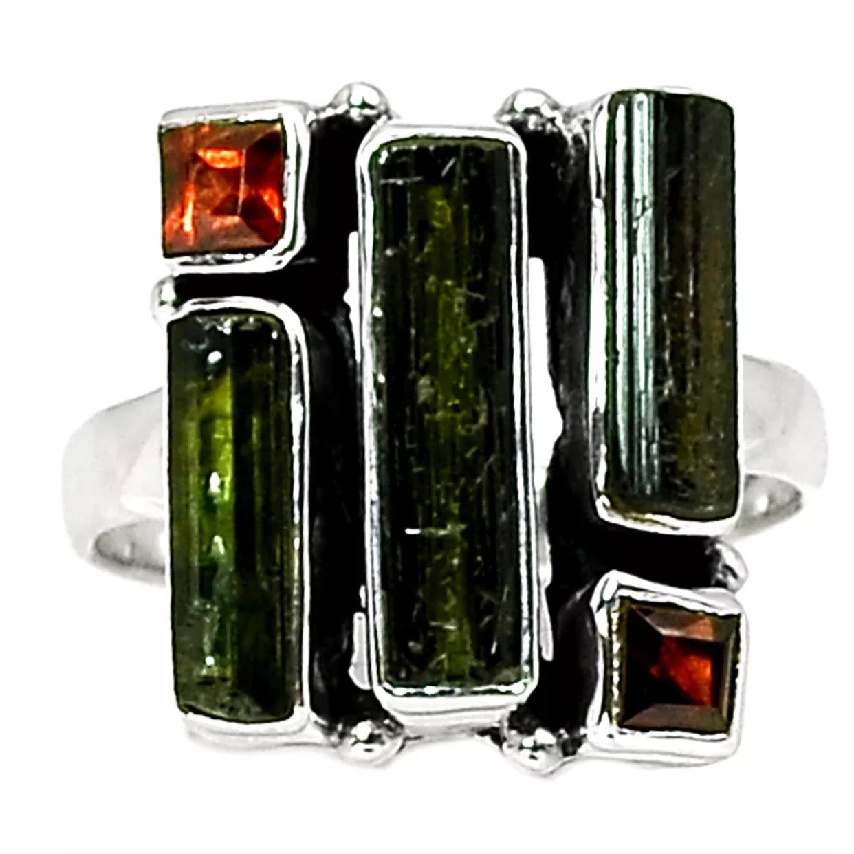 Green Tourmaline & Garnet Geometric Sterling Silver Ring - Keja Designs Jewelry