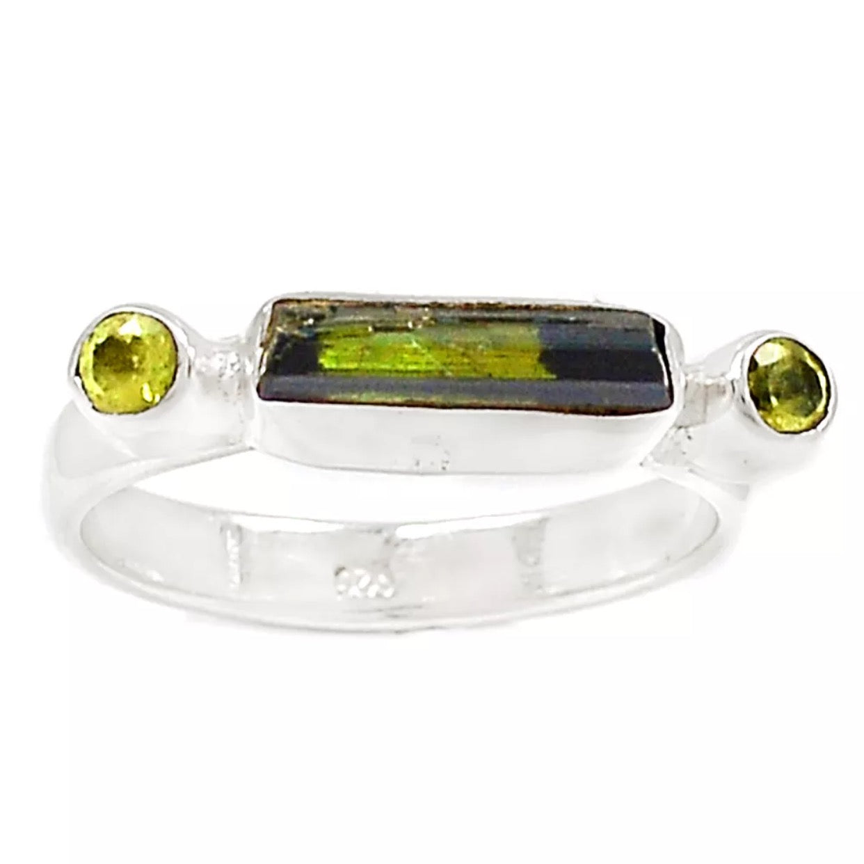Green Tourmaline & Peridot Linear Sterling Silver Ring - Keja Designs Jewelry