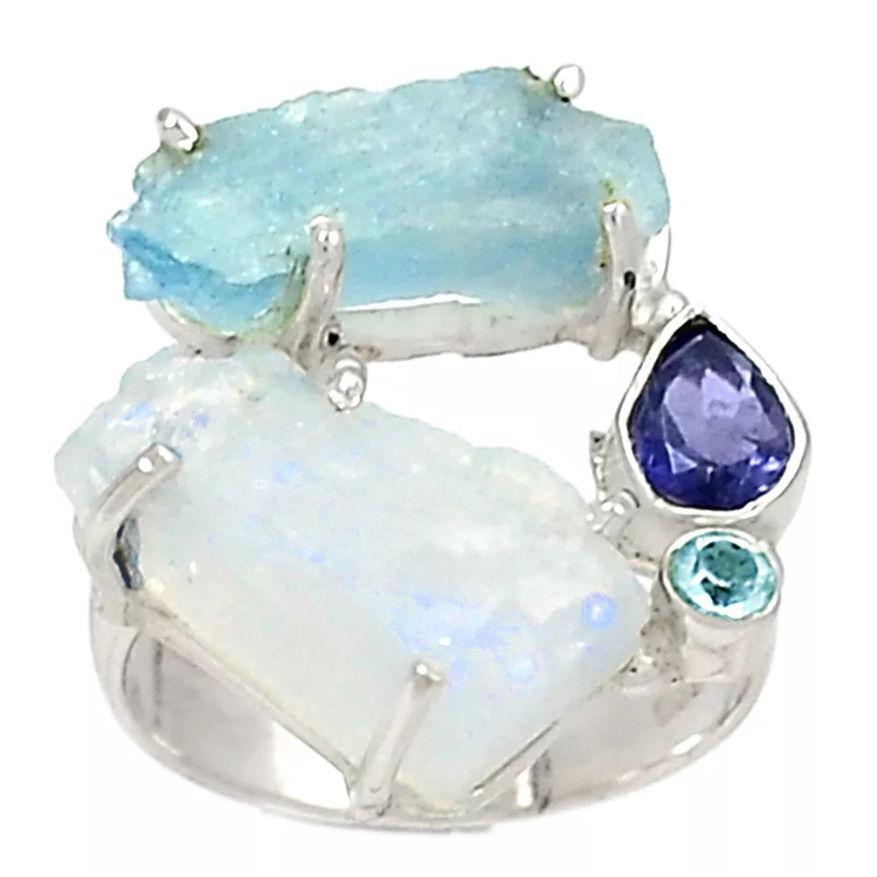 Moonstone & Aquamarine Rough Multi-Gemstone Sterling Silver Ring - Keja Designs Jewelry