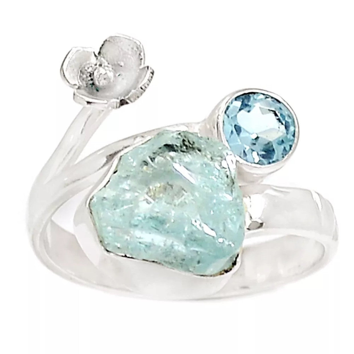 Aquamarine Rough & Blue Topaz Floral Sterling Silver Ring - Keja Designs Jewelry