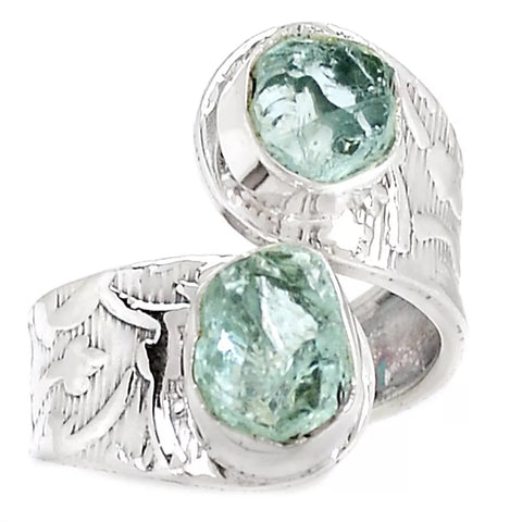 Aquamarine Rough Adjustable Sterling Silver Ring