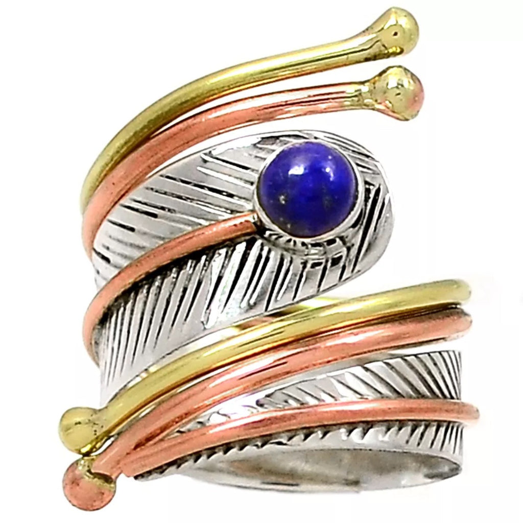 Lapis Three Tone Sterling Silver Leaf Adjustable Wrap Ring - Keja Designs Jewelry