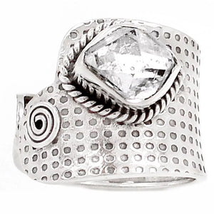 Herkimer Diamond Sterling Silver Spiral Adjustable Band Ring - Keja Designs Jewelry