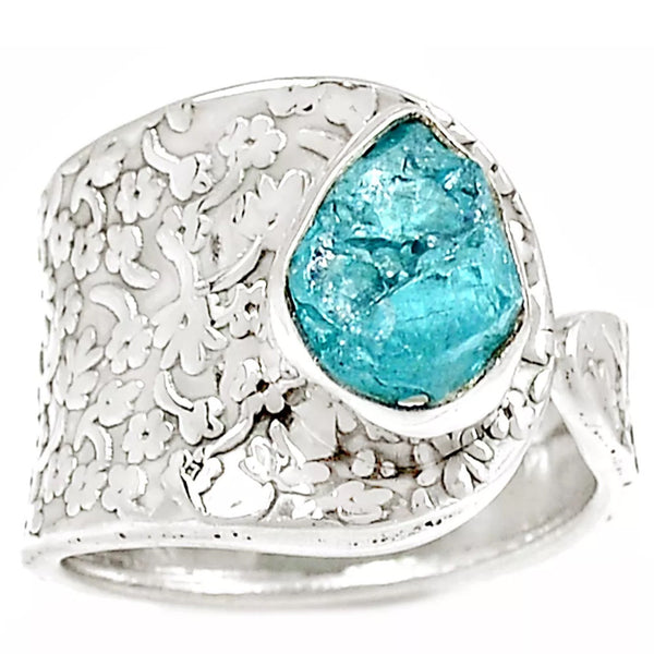 Aquamarine Rough Sterling Silver Vine Pattern Adjustable Ring - Keja Designs Jewelry
