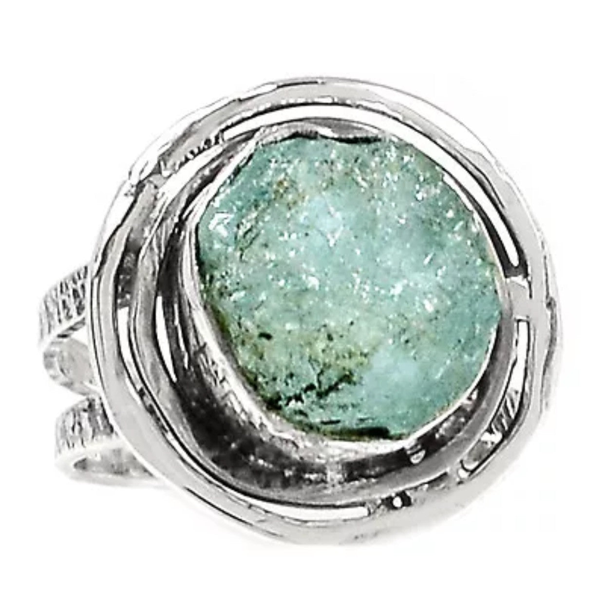 Aquamarine Rough Sterling Silver Nest Ring - Keja Designs Jewelry
