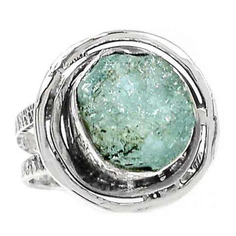 Aquamarine Rough Sterling Silver Nest Ring